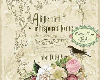 A little Bird Whispered pink roses Large digital download single image BUY 3 get one FREE ecs Prinatable