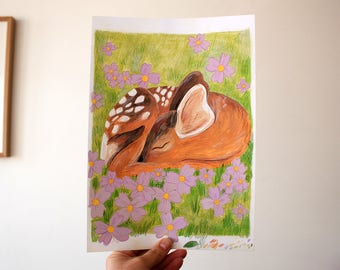 Original Illustration A4 - Sleeping Deer