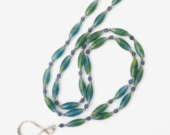 Blue-Green Elongated Czech Glass Bead ID Badge Lanyard  -  ID Necklace