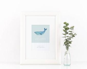 Whale Birth Announcement Print