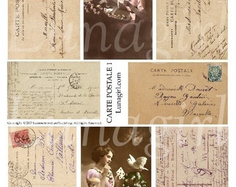 FRENCH WRITING #1, digital collage sheet, Carte Postale vintage images postcards handwriting text Paris ephemera background letters DOWNLOAD
