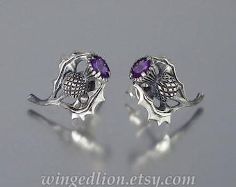 THISTLE BRANCH silver post earrings with Amethyst Ready to ship