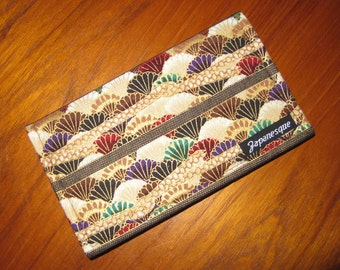 Checkbook Cover Japanese Asian Floral Fabric Design Stripe Brown