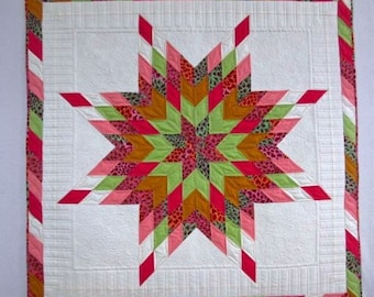 Lone Star Quilt, Lone Star Wall Hanging, Quilted Lone Star