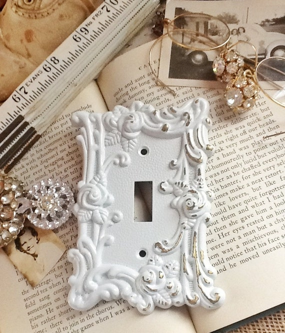 Metal Wall Decor-Light Switch Cover-In White Shabby