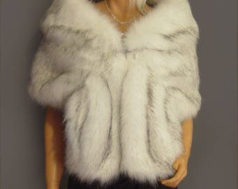 Faux fur shrug wedding or evening wrap in Alaska Husky bridal prom ball or casual stole vintage cover up evening fur coat jacket SPA112