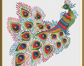 Peacock in Bright Colors Modern Colorful Counted Cross Stitch Pattern PDF Chart Instant Download