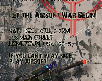 Airsoft Battle Party Custom Printable Invitation by smallfrynotables