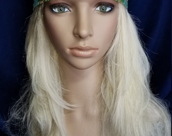 Long green scarf With all clear swarovski crystals