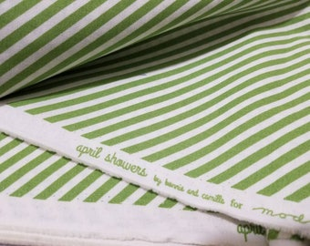 Bonnie and Camille April Showers 1 GREEN and WHITE stripe Fat Quarter cotton quilting fabric