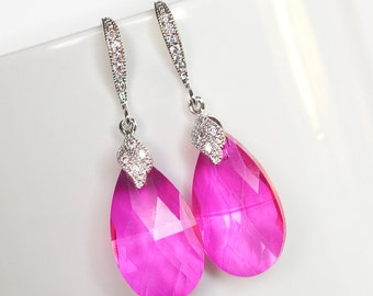 Handmade Fuchsia Pink Pear Crystal Dangle Earrings, Bridal, Wedding (Sparkle-2186)