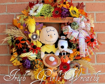MADE To ORDER-- A Charlie Brown Thanksgiving Wreath, Pilgrim Snoopy, Turkey Woodstock, pumpkin pie, Deluxe Peanuts Gang