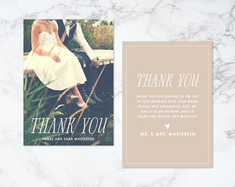 Printable Double Sided Text Overlay Thank You Photo Card