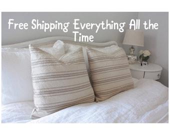 Oatmeal Beige with Tan Stripes Grain Sack Style Pillow Cover// Farmhouse Pillow// Decorative Pillows// Throw Pillows