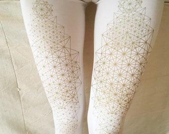 TETRAHEDRON LEGGINGS . geometric. yoga pants. yoga leggings. festival fashion. alternative apparel. sacred geometry. psy trance. white gold