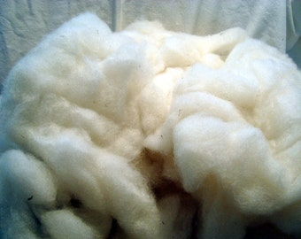 White Wool BFL Cross Roving Fiber Creamy White Wool Spinning Fiber  4 ounces