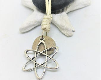 Hag Stone Necklace, Atom Necklace, Chemistry Gift, Physics Jewelry, Science Jewelry, Geek gift, Galaxy , Atom science, Good luck Stone
