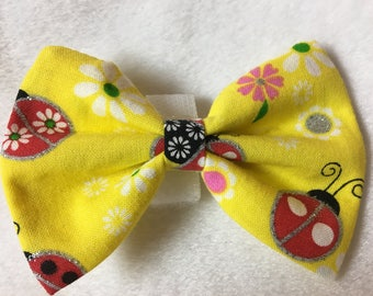 Custom Made Lady Bugs and Daisies on Yellow Dog Bow Tie, Dog Collar, Pet Bow Tie, Cat Bow Tie, Rabbit Bow Tie, Pig Bow Tie