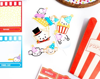 """SET OF 5 // Carnival Diecuts - """"The Greatest Chow On Earth"""" Collection - D100-D104"""
