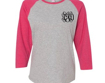 Monogrammed Pocket Baseball Shirt. Womens Monogrammed Raglan Shirt. 3/4 Sleeve Ladies Raglan T-Shirt.
