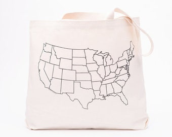 USA Map Canvas Lunch Tote | Map Screenprint | Organic Cotton Bag | Gusset Tote | Reusable Lunch Tote | Bulk Bin Bag | Large Canvas Lunch Bag
