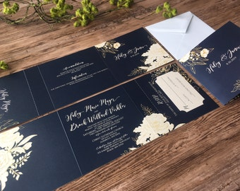 TriFold AllInOne Wedding Invitation Suite Rose Gold and