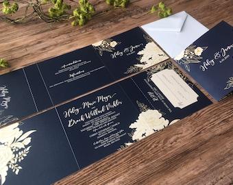 Navy Blue & Gold Tri-Fold All-In-One Wedding Invitations · Gorgeous Navy Blue Wedding Invitation Suite · Gold Wedding Invitation  (208)