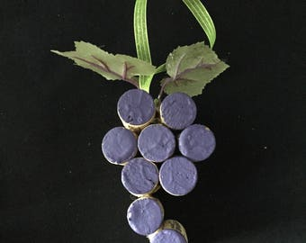 Recycled Wine Cork Grape Cluster (Purple or Green) Ornament