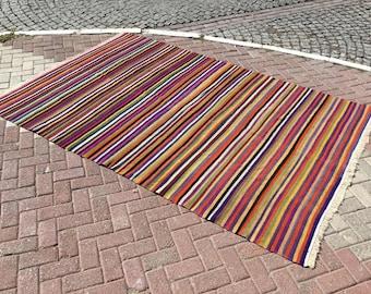 Kilim. Striped kilim rug, colorful kilim rug, area rug, 111.5'' x 74'', Turkish kilim rug, area rug, kelim rug, vintage textile, Turkish,768