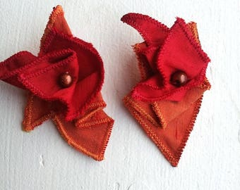 Red and orange silk earrings