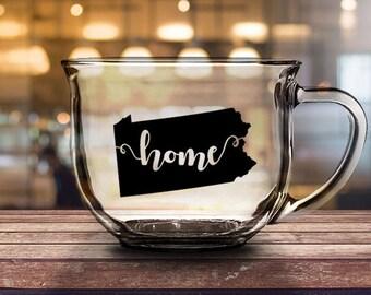 Pennsylvania Home - 16 oz CLEAR GLASS MUG - girlfriend gift, mom gift, sister gift, wife gift, friend gift