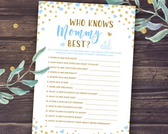 Baby Shower Games Boy, Who Knows Mommy Best Printable, Instant Download, How well do you know mommy to be, Mummy to Be, Blue and Gold, PDF