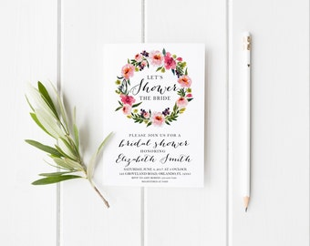 Lets Shower the Bride Watercolor Bridal Shower Party Invitation Floral Pink Peonies Wedding Party Invitation Instant Download Shower Invite