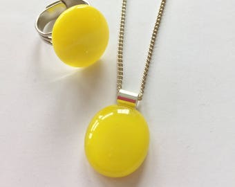 Yellow jewellery set, bright yellow ring, yellow fused glass, yellow pendant