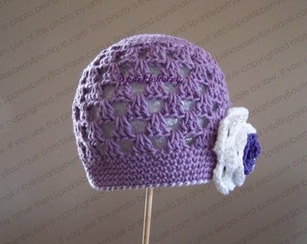 """Crocheted Beanie Hat """"The Mai"""" Ready to Ship Size 2-4 Years Light Grape White Grape Flower Trim Whipstitching"""