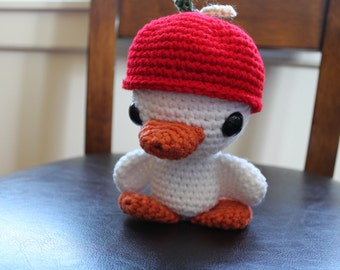 HANDMADE Crocheted Baby Chick. Stuffed Chick. Stuffed Animal. Apple Hat. Toy.