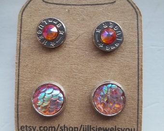 Bullet Jewelry Mermaid Scale 9mm Earring Set,  Bullet Earrings, 2nd Amendment Jewelry, Christmas Present, Bullet Jewelry, Country Jewelry
