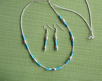 Silver and turquoise necklace and earring set