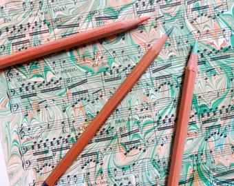 Verdant Voice - Hand marbled vintage sheet music