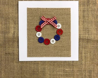 Red, White & Blue Button Wreath Card/Independence Day/USA
