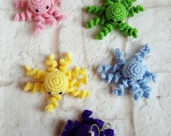 Crochet octopus keychain- Miniature octopus - Crochet octopus - Crochet key chain - octopus key chain - Key chain - Cute keychain