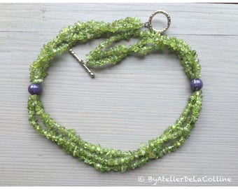 Peridot and amethyst 3-row necklace, Louxor collection