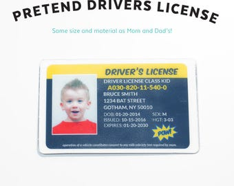 Pretend Drivers License - Kids Pretend License - Kids ID - Kid License - Wallet - Childrens - Superhero - Unique Gift - Kids Birthday Gift