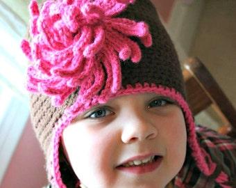Girls Infant/Child Crochet Earflap Hat with Mum Flower