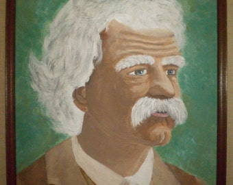 Mark Twain Painting with Vintage Frame