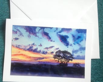 Handmade Greetings Card,  Sunrise,. From an original watercolour painting by Pat Smith