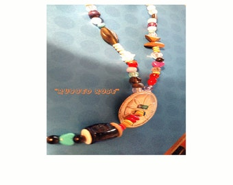 Rugged Rose Multi Beaded Concho Pendant Necklace