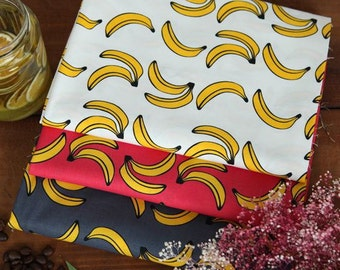 Banana Pattern Cotton Fabric (144294)- 3 Colors Selection