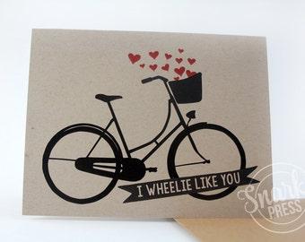 I wheelie like you card - cute love card - anniversary card - love card - funny love card - i love you card - cute anniversary - bicyclist
