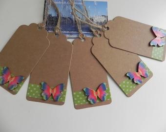 "5 large tags ""BUTTERFLIES"" kraft 9.5 x 4.5 cm"
